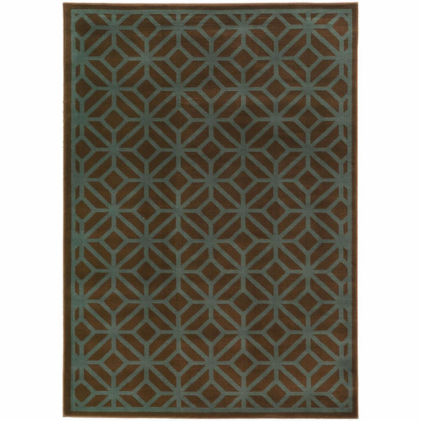 Ella Brown Blue Geometric Tile Transitional Rug - Free Shipping