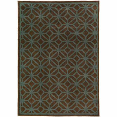 Ella Brown Blue Geometric Tile Transitional Rug