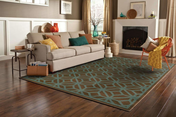 Woven - Ella Brown Blue Geometric Tile Transitional Rug