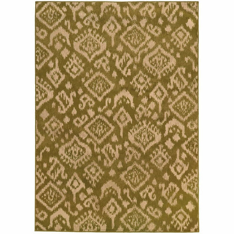 Ella Green Beige Abstract Tribal Ikat Transitional Rug