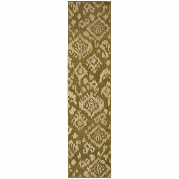 Woven - Ella Green Beige Abstract Tribal Ikat Transitional Rug