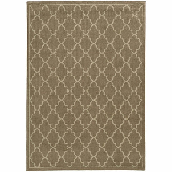 Ella Grey Beige Geometric Lattice Transitional Rug - Free Shipping