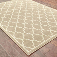 Woven - Ella Grey Beige Geometric Lattice Transitional Rug