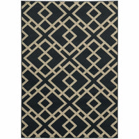 Ella Navy Beige Geometric  Transitional Rug - Free Shipping
