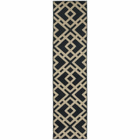 Woven - Ella Navy Beige Geometric  Transitional Rug