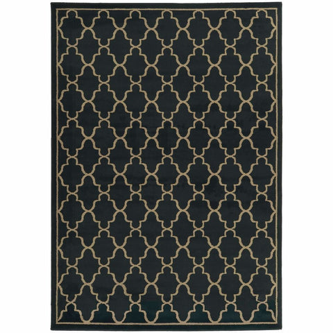 Oriental Weavers Ella Navy Light Grey Geometric Lattice Transitional Rug