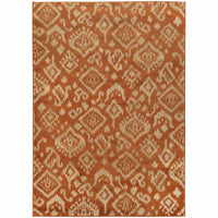 Ella Orange Beige Abstract Tribal Ikat Transitional Rug - Free Shipping
