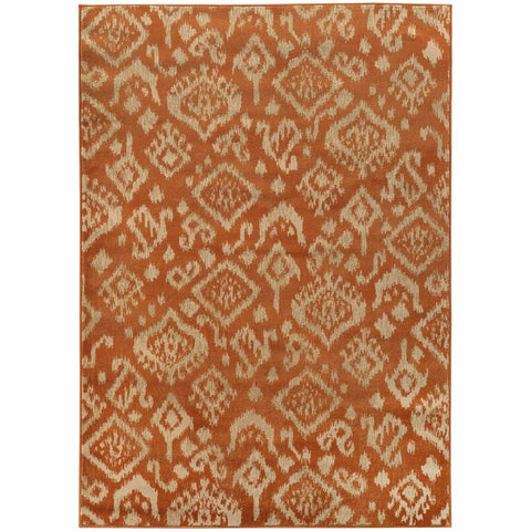 Ella Orange Beige Abstract Tribal Ikat Transitional Rug