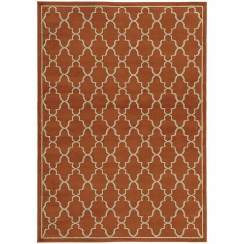Ella Orange Beige Geometric Lattice Transitional Rug