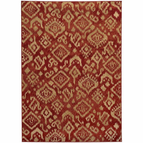 Ella Red Beige Abstract Tribal Ikat Transitional Rug