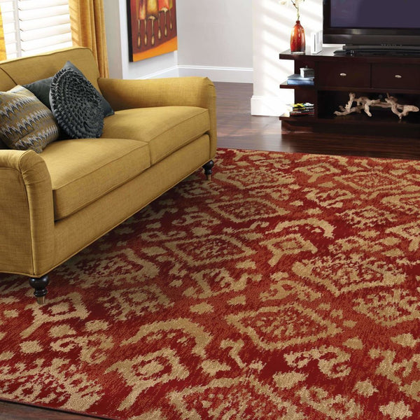 Woven - Ella Red Beige Abstract Tribal Ikat Transitional Rug