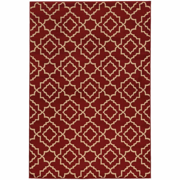 Woven - Ella Red Beige Geometric Lattice Transitional Rug