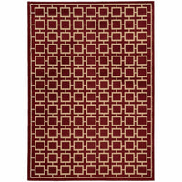 Ella Red Beige Geometric  Transitional Rug - Free Shipping