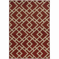 Ella Red Light Grey Geometric  Transitional Rug - Free Shipping