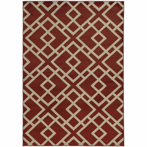 Oriental Weavers Ella Red Light Grey Geometric  Transitional Rug