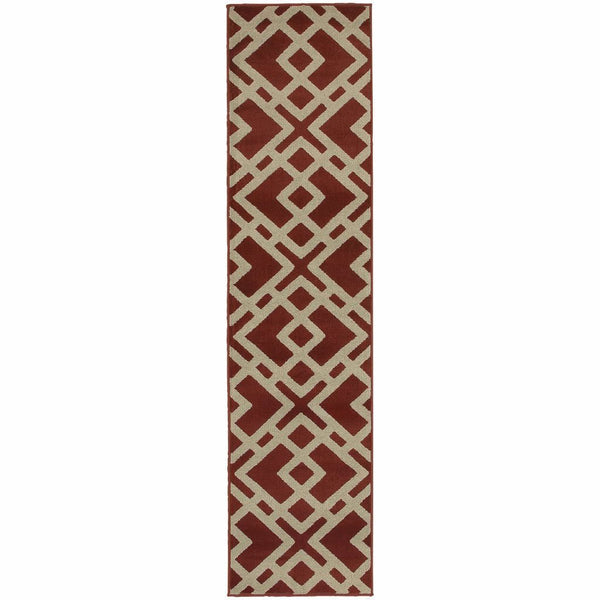 Woven - Ella Red Light Grey Geometric  Transitional Rug