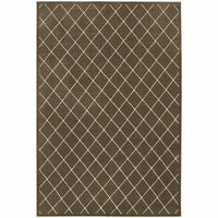 Ellerson Brown Ivory Lattice Geometric Transitional Rug - Free Shipping
