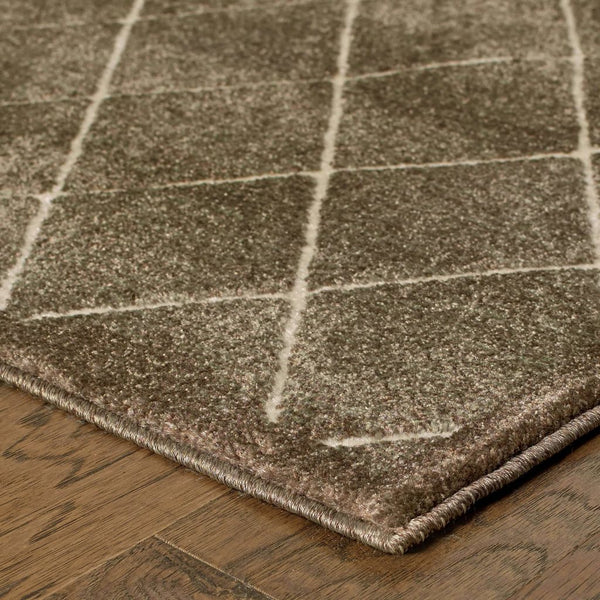 Woven - Ellerson Brown Ivory Lattice Geometric Transitional Rug