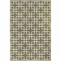 Ellerson Grey Ivory Lattice Geometric Transitional Rug - Free Shipping