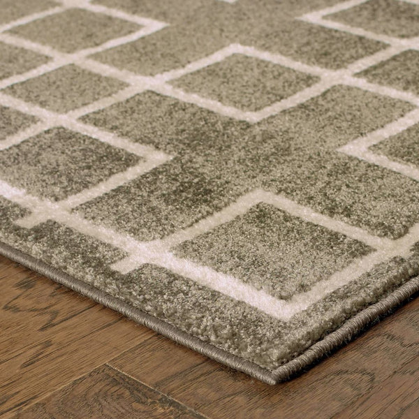 Woven - Ellerson Grey Ivory Lattice Geometric Transitional Rug