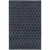 Ellerson Navy Grey Geometric Lattice Transitional Rug - Free Shipping