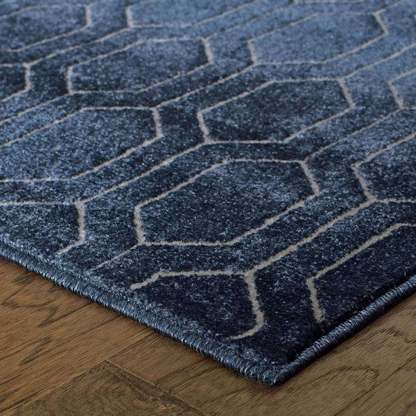 Woven - Ellerson Navy Grey Geometric Lattice Transitional Rug