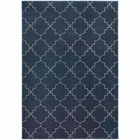 Ellerson Navy Ivory Lattice Geometric Transitional Rug - Free Shipping