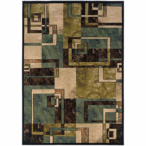 Oriental Weavers Emerson Beige Blue Geometric Blocks Transitional Rug