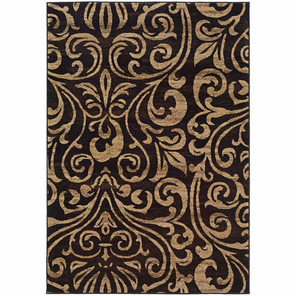 Emerson Black Gold Botanical  Transitional Rug - Free Shipping