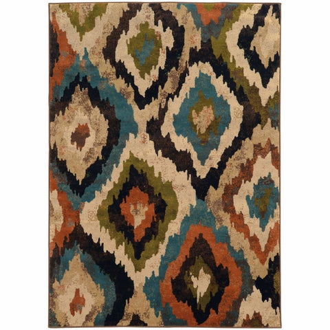 Oriental Weavers Emerson Blue Brown Abstract Ikat Contemporary Rug