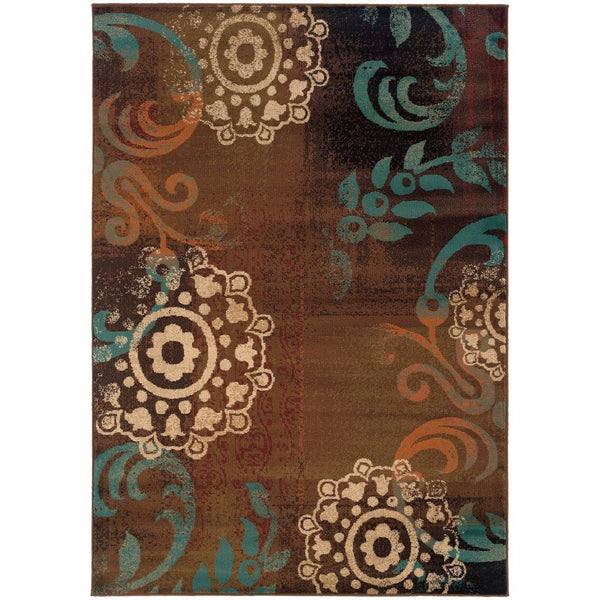 Emerson Brown Blue Abstract Circles Transitional Rug - Free Shipping