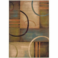 Emerson Brown Gold Geometric Circles Contemporary Rug - Free Shipping