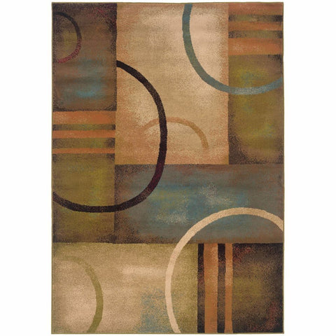 Emerson Brown Gold Geometric Circles Contemporary Rug