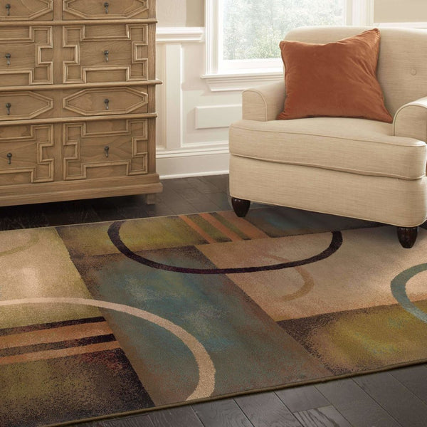 Woven - Emerson Brown Gold Geometric Circles Contemporary Rug