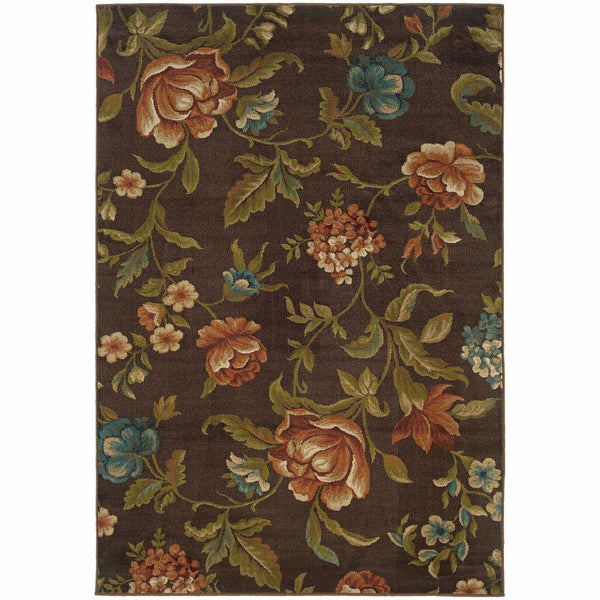 Woven - Emerson Brown Green Floral  Transitional Rug