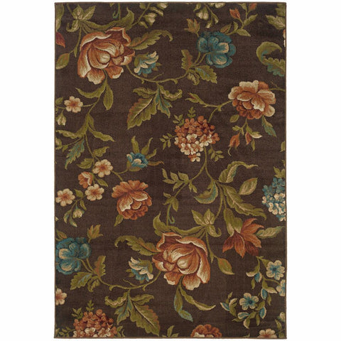 Oriental Weavers Emerson Brown Green Floral  Transitional Rug