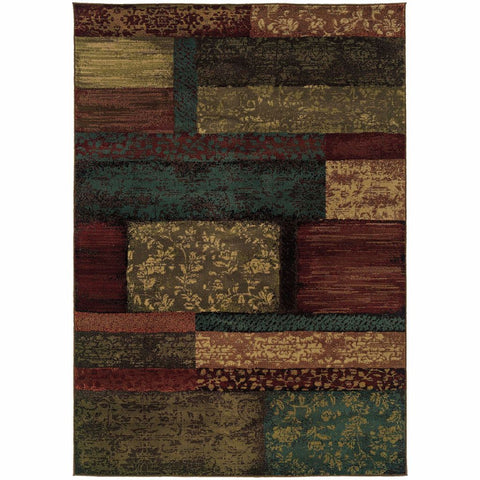 Oriental Weavers Emerson Brown Teal Geometric Botanical Transitional Rug