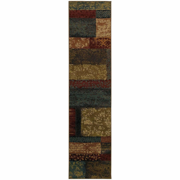 Woven - Emerson Brown Teal Geometric Botanical Transitional Rug