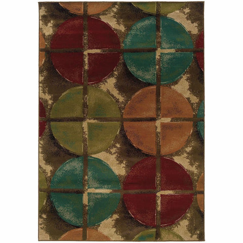 Emerson Brown Teal Geometric Circles Transitional Rug