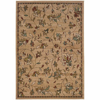 Emerson Gold Brown Floral  Transitional Rug - Free Shipping
