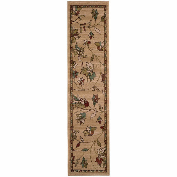 Woven - Emerson Gold Brown Floral  Transitional Rug