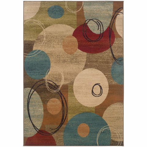 Emerson Gold Brown Geometric Circles Contemporary Rug