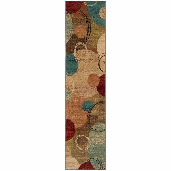 Woven - Emerson Gold Brown Geometric Circles Contemporary Rug