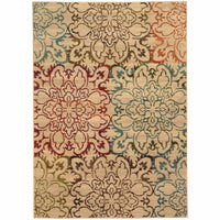 Emerson Ivory Multi Floral  Transitional Rug - Free Shipping