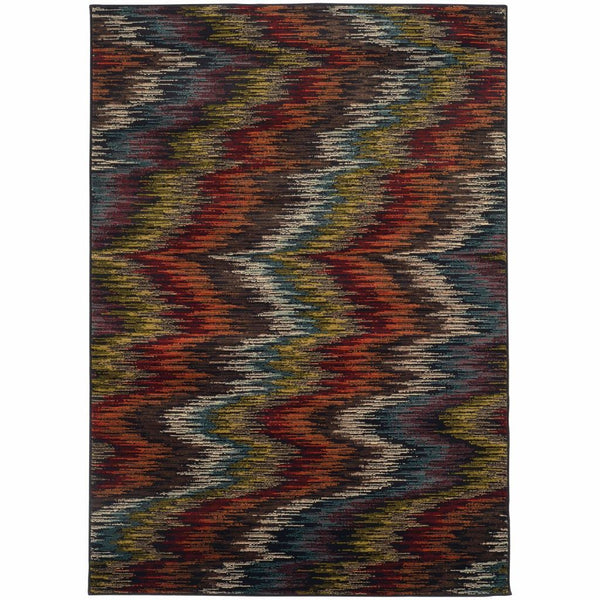 Emerson Multi Black Abstract Ikat Contemporary Rug - Free Shipping