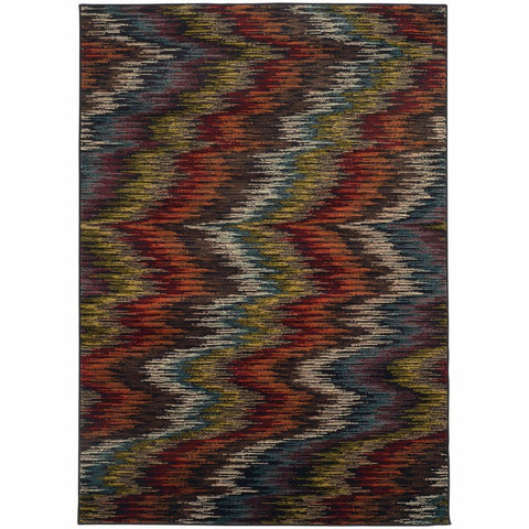 Oriental Weavers Emerson Multi Black Abstract Ikat Contemporary Rug