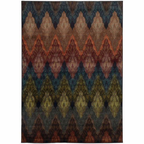 Oriental Weavers Emerson Multi Black Geometric Chevron Transitional Rug