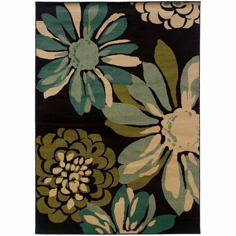 Oriental Weavers Emerson Teal Ivory Floral  Contemporary Rug