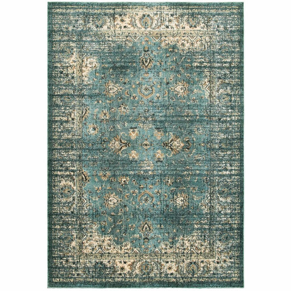 Empire Blue Ivory Oriental Distressed Traditional Rug - Free Shipping