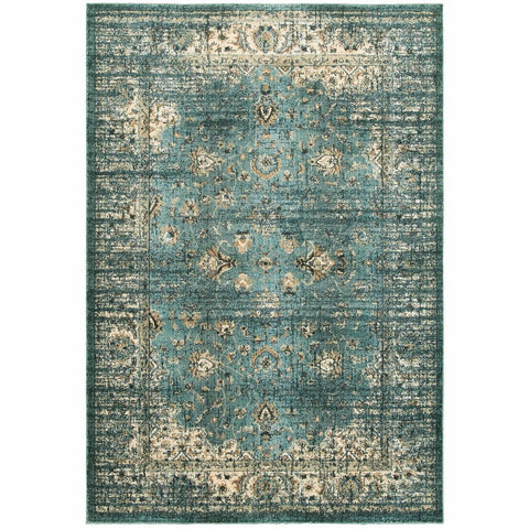 Empire Blue Ivory Oriental Distressed Traditional Rug